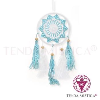 Caça Sonhos Mini - Crochê Azul