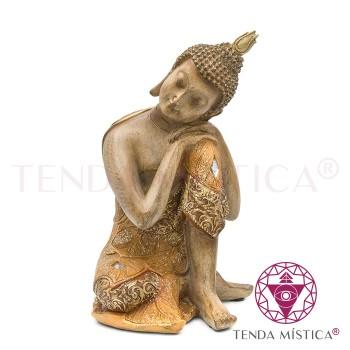 Buddha Sonhador - Castanho e Dourado
