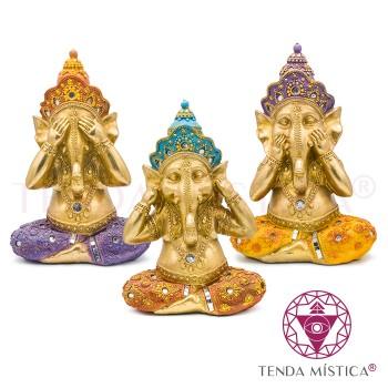 Conj. 3 Ganeshas - Cego, Surdo Mudo