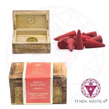 Incensário Baú Zen Aromas + Cones Rosas & Oud Preto