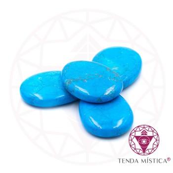 Pedras Ovais - Howlite Azul - 4Unid.