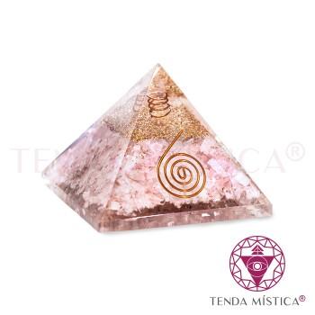 Pirâmide Orgonite - Quartzo Rosa - 7X7
