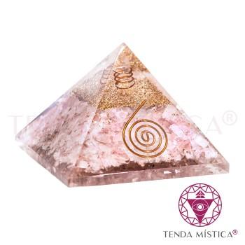 Pirâmide Orgonite - Quartzo Rosa - 9X9
