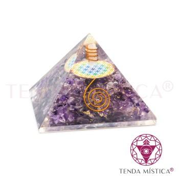 Pirâmide Orgonite - Ametista - Flor - 7X7