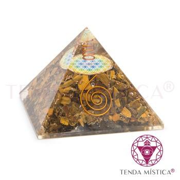 Pirâmide Orgonite - Olho de Tigre - Flor - 8X8