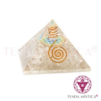 Pirâmide Orgonite - Quartzo Cristal - Flor - 7X7