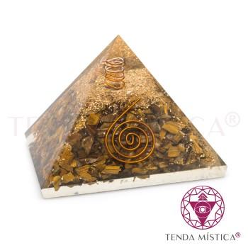 Pirâmide Orgonite - Olho de Tigre - 9X9