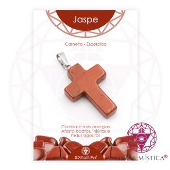 Pendente Cruz - Jaspe Vermelho - C/Cartela