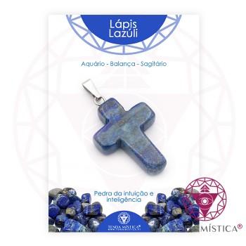 Pendente Cruz - Lápis Lazuli - C/Cartela
