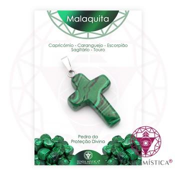 Pendente Cruz - Malaquite - C/Cartela