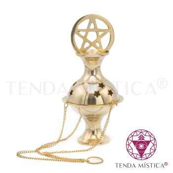 Turíbulo Metal Dourado - Pentagrama