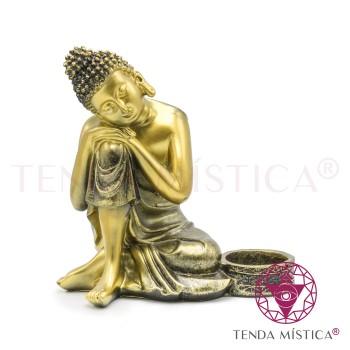 Buddha Sonhador Dourado - Porta-Velas