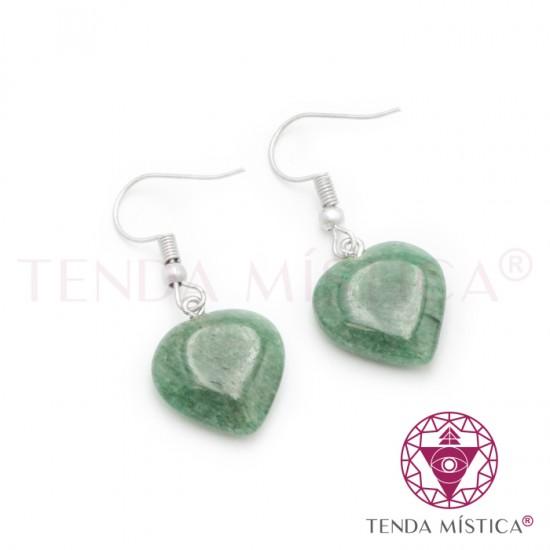 Brincos Gancho Coração - Quartzo Verde