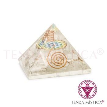 Pirâmide Orgonite - Selenite - Flor - 7X7