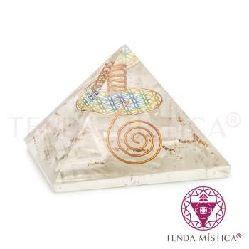 Pirâmide Orgonite - Selenite - Flor - 9X9